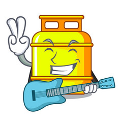 With guitar creative in gas cartoon tank container vector