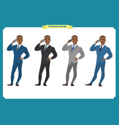 young black american businessman in suit standing vector image