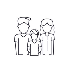young family line icon concept young family vector image