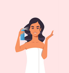 young woman applying hair spray dressed in towel vector image