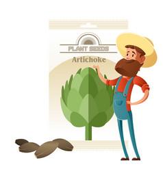 artichoke seed pack vector image