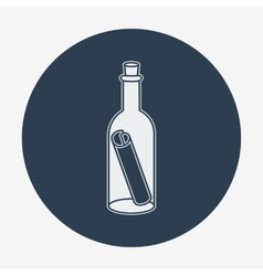 Flat style icon with sea or bottle mail vector image vector image
