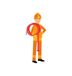 fireman in uniform and protective helmet holding vector image