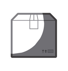 Grayscale silhouette of box of cardboard sealed vector