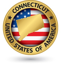 Connecticut state gold label with state map vector image vector image