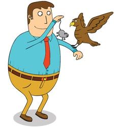Man feeding eagle vector image vector image