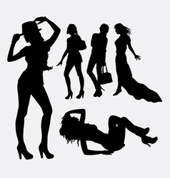 People female lifestyle silhouette vector