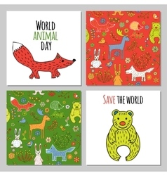 set of woodland animals vector image vector image