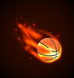 Basketball on fire vector image