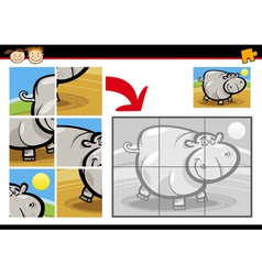 cartoon hippo jigsaw puzzle game vector image vector image