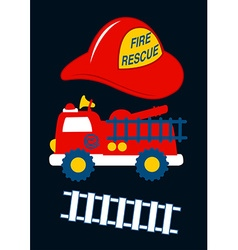 Fire rescue with red helmet and truck vector
