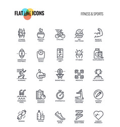 Flat line icons design-fitness and sports vector