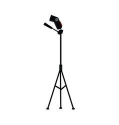 Flat studio flash light at tripod vector