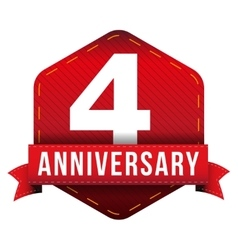 Four year anniversary badge with red ribbon vector image vector image