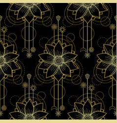 gold lotus modern seamless pattern vector image vector image