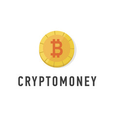 golden coin with bitcoin sign flat web money vector image