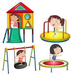 Kids playing on the play stations vector image