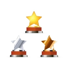 Set of awards for winners with golden silver and vector image