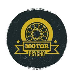 stylish motor grunge emblem vector image