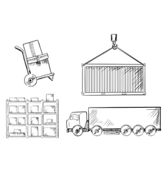 Truck container hand truck and racks vector image