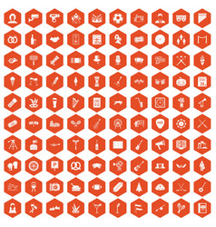 100 meeting icons hexagon orange vector