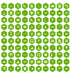 100 water recreation icons hexagon green vector