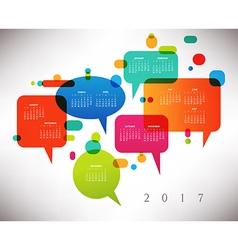 2017 Calendar with speech bubbles vector image