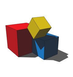 3d image - simple colored scattered box cubes vector