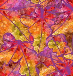 abstract seamless pattern mosaic maple leaves vector image