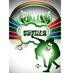 Abstract summer composition with soccer player vector