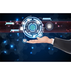 Abstract technology over hand vector image
