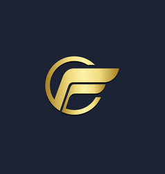 Abstract wing gold logo vector