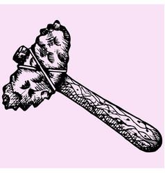 Ancient stone axe or primitive hammer vector