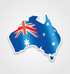 Australian flag in map of australia vector