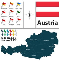 Austria map with flags vector