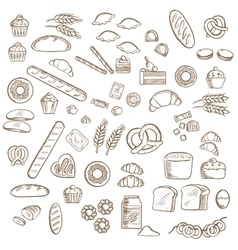 Bakery pastry and confectionery sketches vector