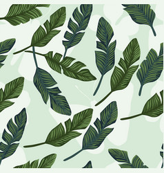 Banana leaves seamless on butterfly background vector