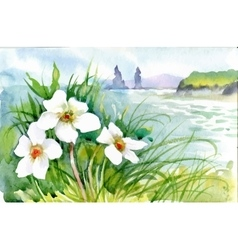 Beautiful watercolor blooming flowers over summer vector