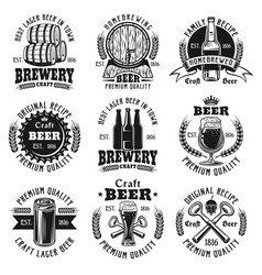 Beer nine black emblems badges labels vector