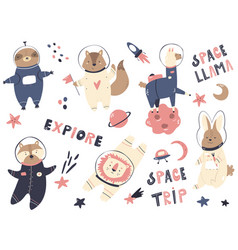 Big set astronaut animals and space animals vector