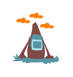 bigfoot sitting on ground with backpack and vector image