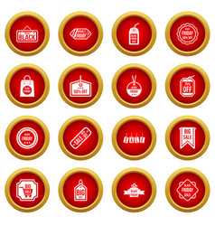 black friday icon red circle set vector image