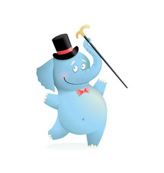 blue funny elephant wearing hat with cane cartoon vector image