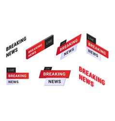 breaking news logo set vector image