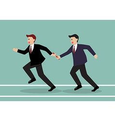 Businessman passing the baton in a relay race vector