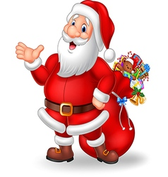 Cartoon funny santa presenting isolated vector image