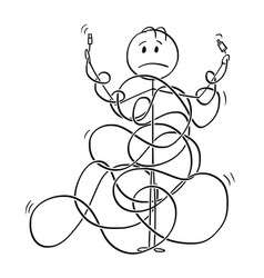 Cartoon man or technician tangled in cord line vector