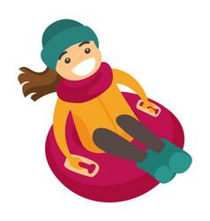 caucasian woman sledding down on snow rubber tube vector image