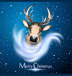 christmas card with cute reindeer over blue vector image