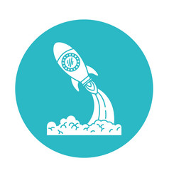 circle light blue with space rocket launch vector image